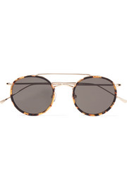 Allen round-frame acetate and gold-tone sunglasses