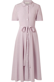 Mansur Gavriel Belted silk crepe de chine shirt dress