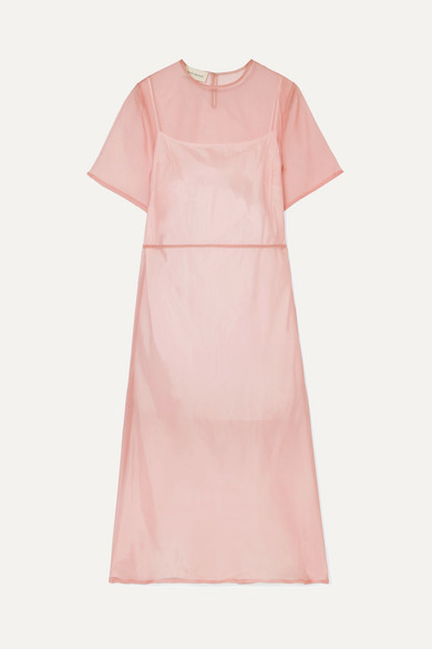 SILK-TULLE MIDI DRESS