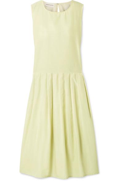 Pleated Silk And Cotton-blend Midi Dress - Pastel yellow Mansur Gavriel WtR4No