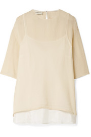 Mansur Gavriel Crinkled silk-blend top
