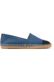 Logo-embroidered leather-trimmed denim espadrilles