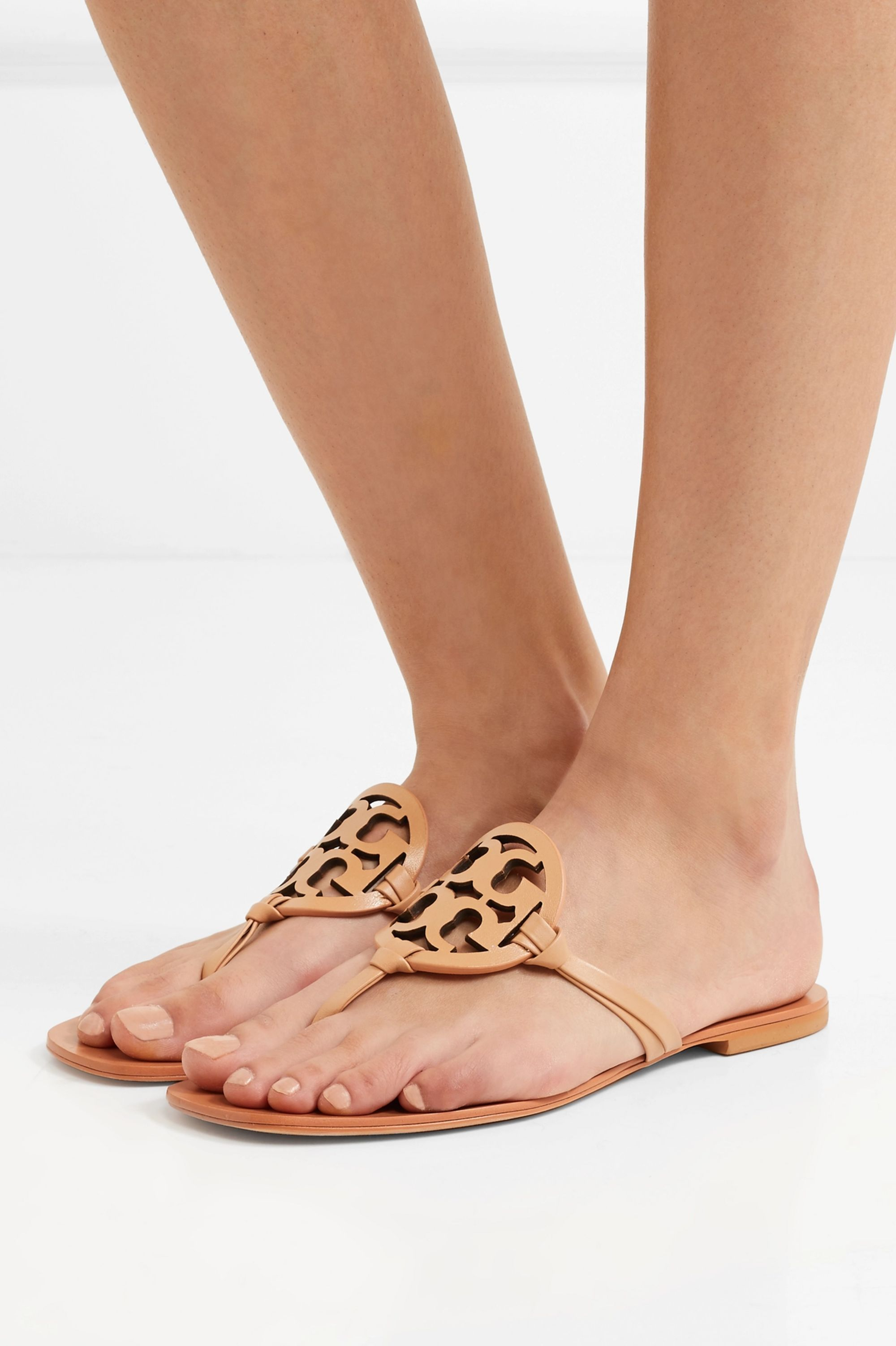 Tan Miller logo-embellished leather sandals | Tory Burch | NET-A-PORTER