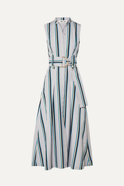 Belted striped cotton midi dress