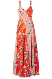 Paneled floral-print silk crepe de chine maxi dress