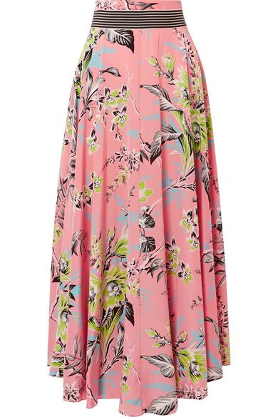Floral Print Silk Crepe De Chine Maxi Skirt by Diane Von Furstenberg
