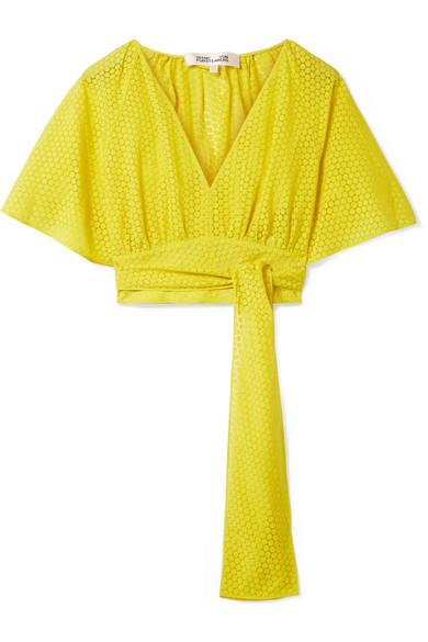 Diane von Furstenberg - Cropped Devoré-voile Wrap Blouse - Bright yellow