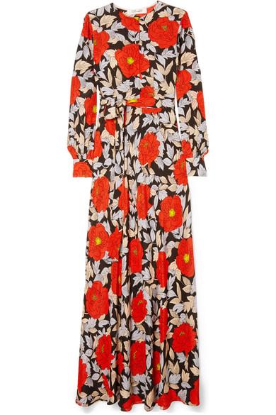 Diane von Furstenberg Maxikleid aus Seide mit floralem Print