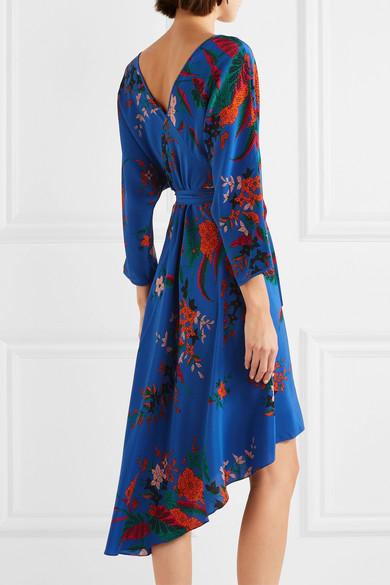 Diane von Furstenberg Wickelkleid aus Crêpe de Chine aus Seide mit Blumendruck