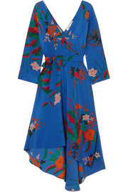 Floral-print silk crepe de chine wrap dress