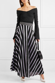 Striped cotton-blend maxi skirt