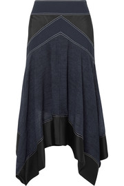 Asymmetric paneled crepe, satin and voile skirt