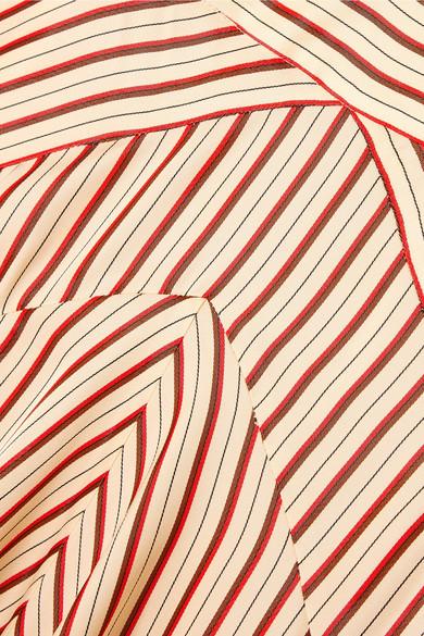Diane von Furstenberg Asymmetrischer Midirock aus gestreiftem Satin