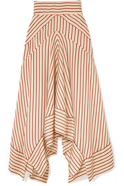 Asymmetric striped satin midi skirt