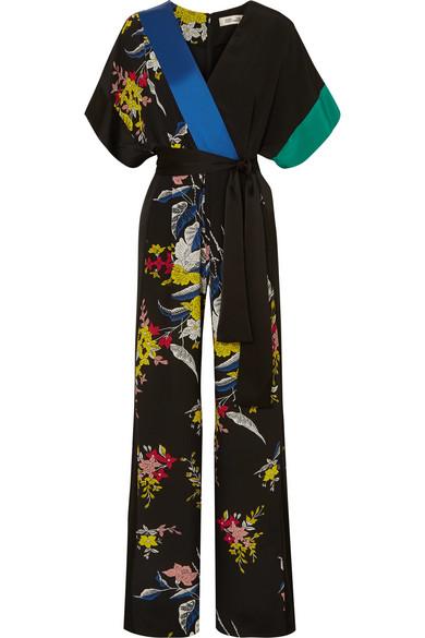 Diane von Furstenberg Jumpsuit aus Crêpe de Chine aus Seide mit floralem Print und Wickeleffekt