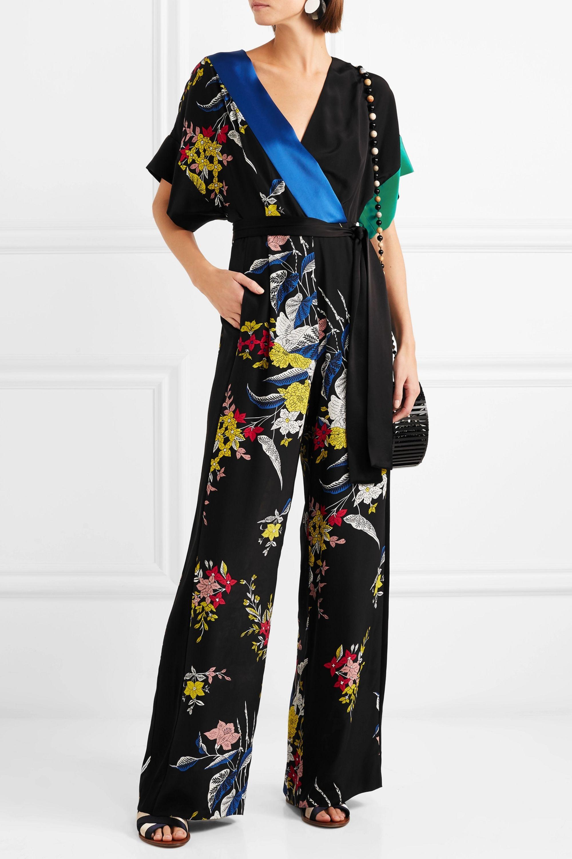 Diane von Furstenberg Wrap-effect belted floral-print silk crepe de chine jumpsuit