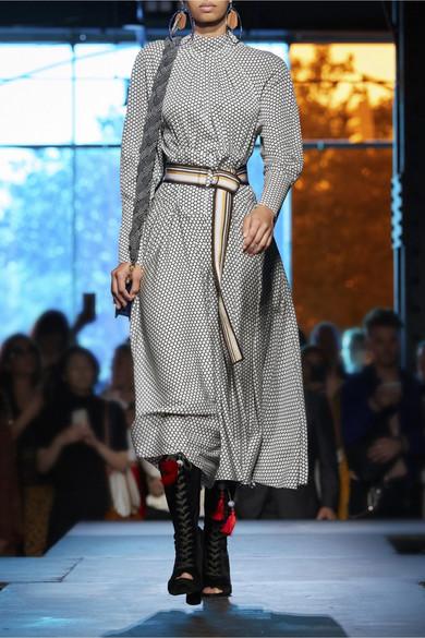 Diane von Furstenberg Midikleid aus Seide mit Polka-Dots und Gürtel