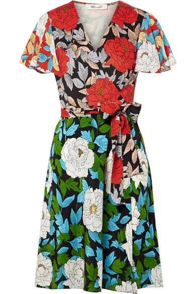 Diane von Furstenberg Bedrucktes Wickelkleid aus Crêpe de Chine aus Seide