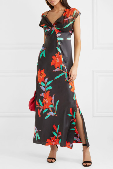 Diane von Furstenberg Robe aus Seidensatin und Tüll mit Blumenprint und asymmetrischer Schulterpartie