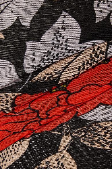 Diane von Furstenberg Gerafftes Midikleid aus Mesh mit Blumendruck und asymmetrischer Schulterpartie