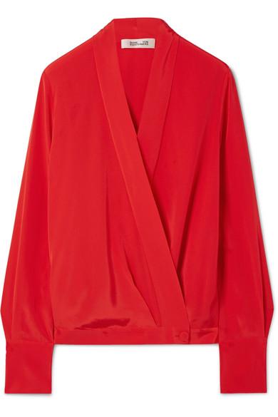 Diane von Furstenberg - Silk Crepe De Chine Wrap Blouse - Red