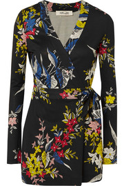 Celeste printed silk-jersey wrap playsuit