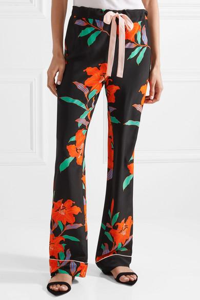 Diane von Furstenberg Hose mit geradem Bein aus Crêpe de Chine aus Seide mit Blumenprint