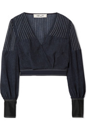 Diane von Furstenberg Wrap-effect crepe and satin-trimmed voile blouse