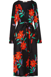 Tilly floral-print silk-satin wrap dress