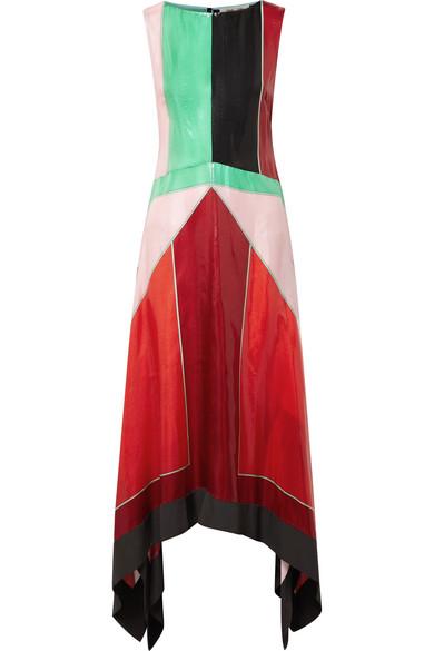Diane von Furstenberg Asymmetrisches Maxikleid aus strukturierter Seide in Colour-Block-Optik