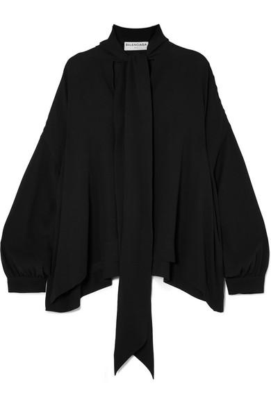 Balenciaga - Pussy-bow Silk-crepe Blouse - Black