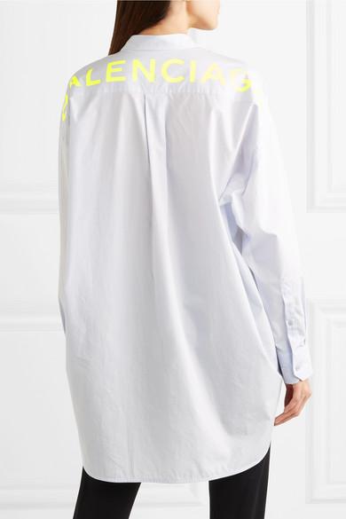 Buy Cheap Best Sale 100% Guaranteed Sale Online Swing Printed Cotton-poplin Shirt - Sky blue Balenciaga miJlkyw