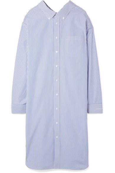 Balenciaga Gestreiftes Hemdblusenkleid aus Baumwollpopeline