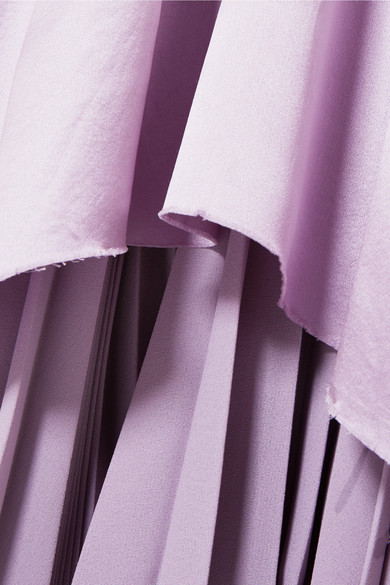 Balenciaga Hybrid Kleid aus Seidensatin und plissiertem Crêpe de Chine mit Rüschen