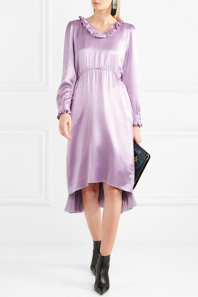 In China For Sale Hybrid Ruffled Silk-satin And Pleated Crepe De Chine Dress - Purple Balenciaga Sast Cheap Sale Cost Pre Order Cheap Price bXHb4wU