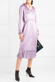 Hybrid ruffled silk-satin and pleated crepe de chine dress