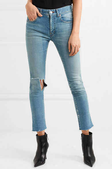 Balenciaga Halbhohe Skinny Jeans in Distressed-Optik