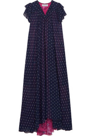Flou paneled printed georgette midi dress