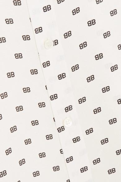 Balenciaga Bedrucktes Hemd aus Jacquard aus Seidensatin mit Knoten-Details