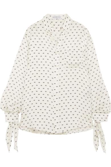 Balenciaga - Knotted Printed Silk-satin Jacquard Shirt - White at NET-A-PORTER