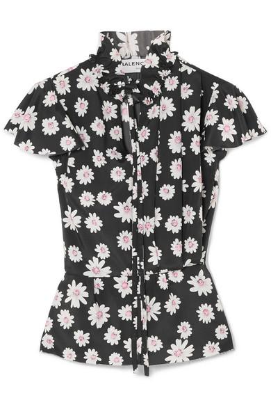 Balenciaga - Floral-print Satin Top - Black at NET-A-PORTER
