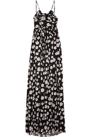 Floral-print silk-jacquard maxi dress