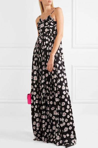 Balenciaga Maxikleid aus Seiden-Jacquard mit floralem Print