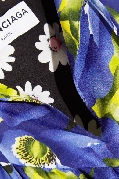 Balenciaga Floral bedrucktes Midikleid aus Crêpe de Chine