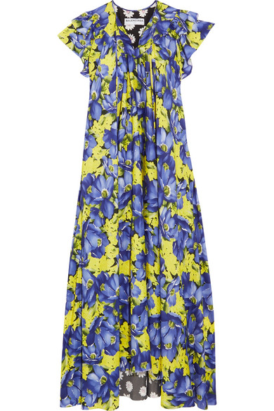 Balenciaga - Floral-print Crepe De Chine Midi Dress - Purple