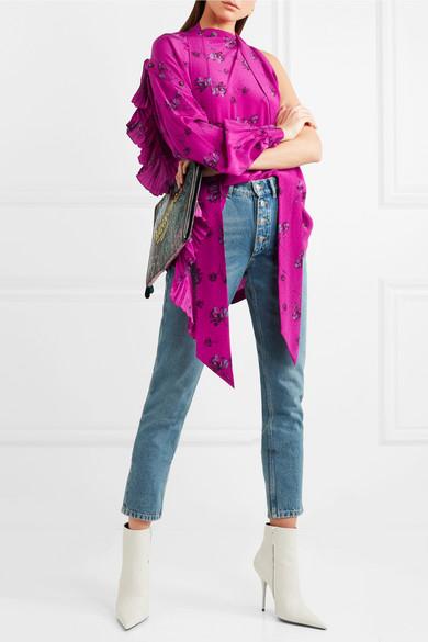 Balenciaga Asymmetrische Bluse aus Crêpe de Chine aus Seide mit Print