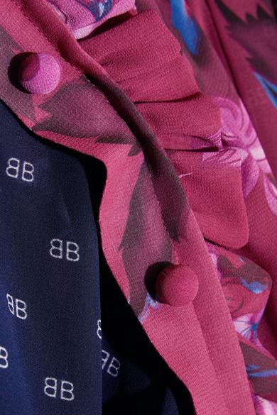 Balenciaga Flou bedrucktes Kleid aus Georgette mit Rüschen