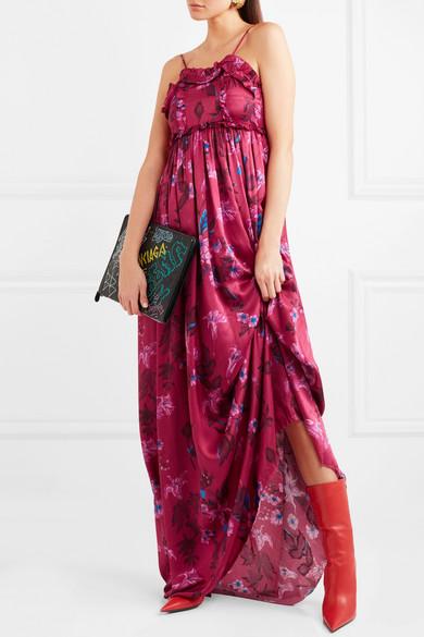 Balenciaga Robe aus Seiden-Jacquard mit Rüschen und Blumenprint
