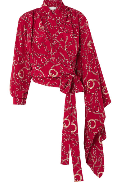 Balenciaga - Printed Silk-crepe Wrap Blouse - Red at NET-A-PORTER