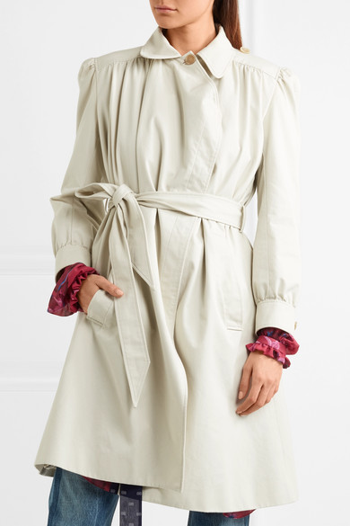 Balenciaga Pulled Feminine Coat In Cotton-canvas With Ruffles